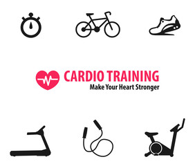 Cardio Training flat icons vector illustration, eps10