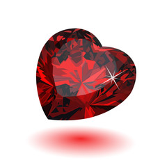 precious ruby red heart on a white background