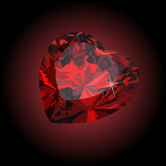 precious ruby red heart on black background