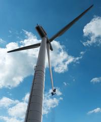 Wartungsarbeiten an Windenergieanlage