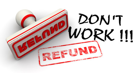 Не работает! Возврат (Don't work! Refund). Печать и оттиск