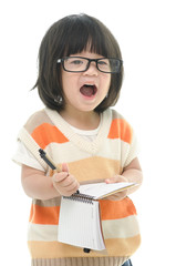 Asian baby standing and writing