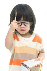 Cute asian baby thinking