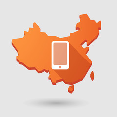 China map icon with a phone