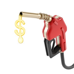 Red gas nozzle with dollar sign gas drop