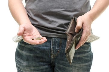 empty pocket, coins in hand