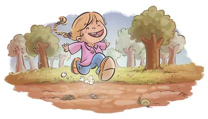 niña corriendo por el bosque