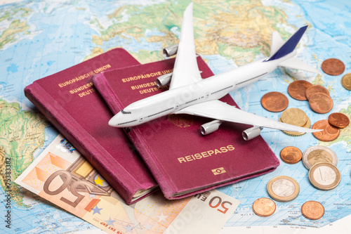 Leinwanddruck Bild Flugreise buchen