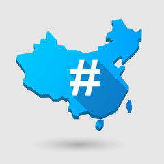 China map icon with a hash tag