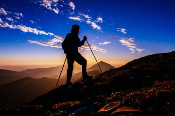 hiker at sunset
