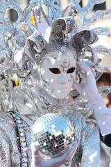 Silver mask at the Carnival of Venice