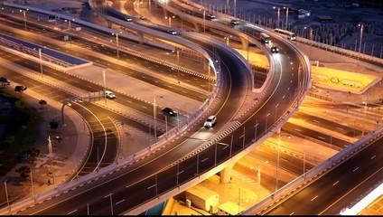Highway junction in Dubai at night