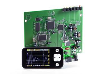 Oscilloscopio con scheda elettronica