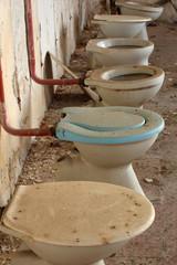 toilet bowl in public old interior 3
