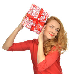 Christmas gift woman with wrapped christmas present