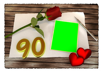 Red rose, hearts and blank card on wooden table, birthday