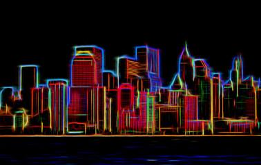 Manhattan sklyline glowing neon