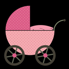 Pink Baby Buggy on black