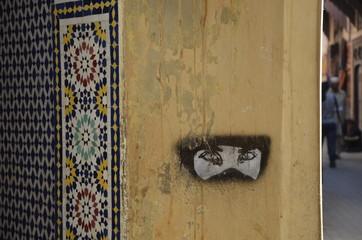 verschleierte Frau Graffity