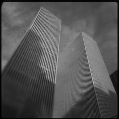 Vertical view of modern skyscrapers in midtown Manhattan