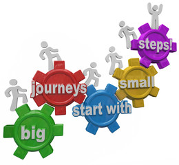 Big Journeys Start With Small Steps People Marching Up Climbing
