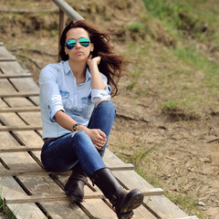 A photo of beautiful girl in fashion style