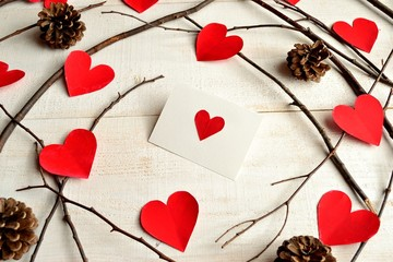 Red heart message card with heart paper cut out