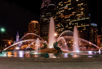Swann Memorial Fountain at night