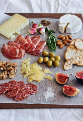 Gourmet platter of cheese and charcuterie