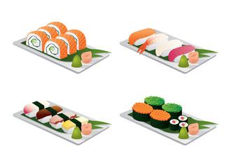 Sushi set on dish