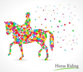horse riding vector illustration with polka dot background