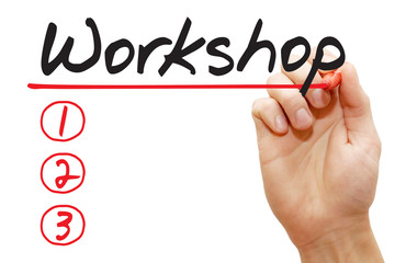 Hand writing Workshop List with red marker, business concept