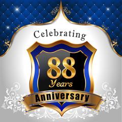 celebrating 88 years anniversary, sheild with royal emblem