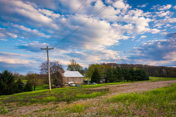 Barn and fields in rural York County, Pennsylvania.