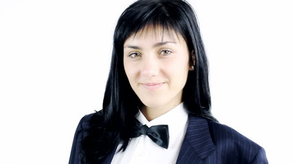 Young woman with suit and tie smiling and looking isolated