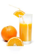 slice of orange and a glass of orange juice