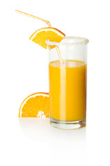 slice of orange and a glass of orange juice