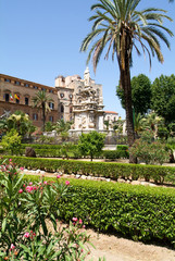 Gardens in front of Palazzo dei Normanni at Palermo