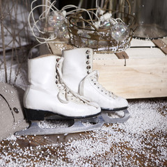 Skates on artificial snow
