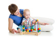 kid and mother play with educational toy