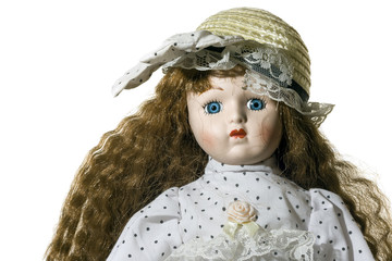 Doll toy white background