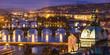Leinwanddruck Bild - Bridges Prague