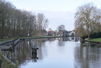 village near the water in holland
