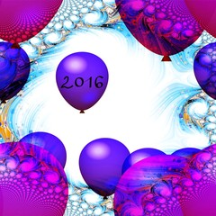 Red and purple balloons with inscription 2016