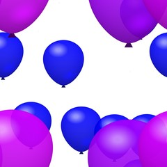 Purple and blue balloons on white background