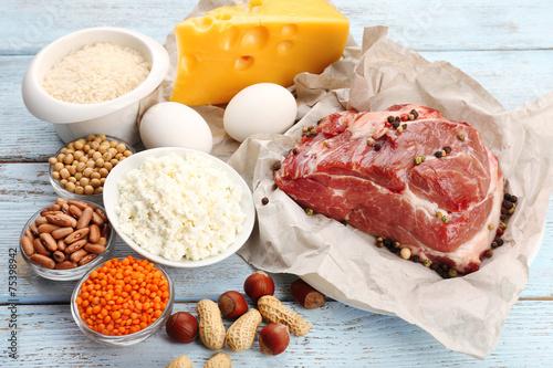 Leinwandbild Motiv Food high in protein on table, close-up