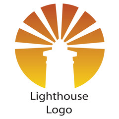 Golden Sunset and White Logo Lighthouse
