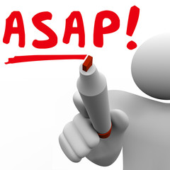 ASAP As Soon As Possible Man Person Writing Words Fast Speed Res