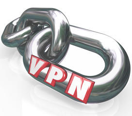 VPN 3d Letters on Chain Links in Secure Connection Virtual Perso