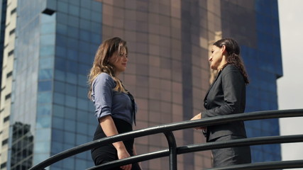 Two businesswomen talking, making deal and shaking hands